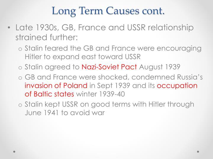 Long term causes cont