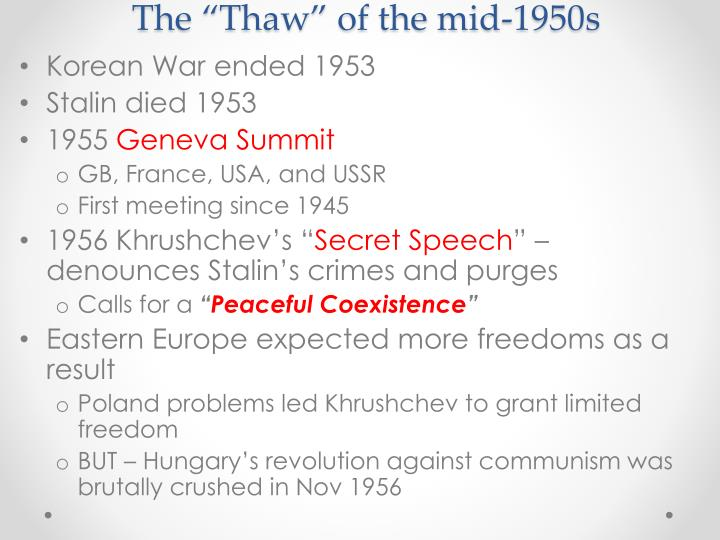 """The """"Thaw"""" of the mid-1950s"""