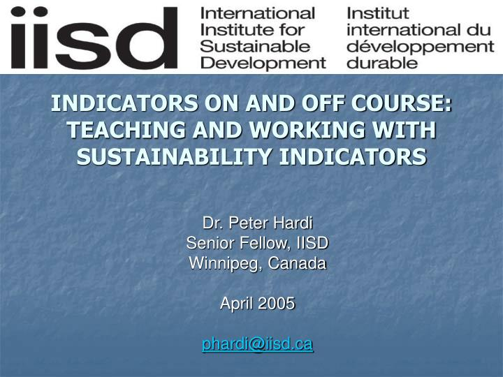 indicators on and off course teaching and working with sustainability indicators n.