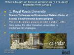 what is taught on sdis at universities on course examples from canada