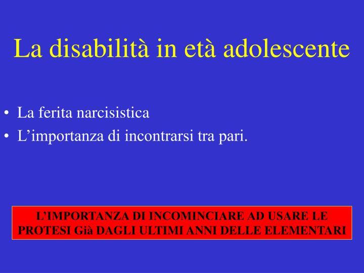 La disabilità in età adolescente