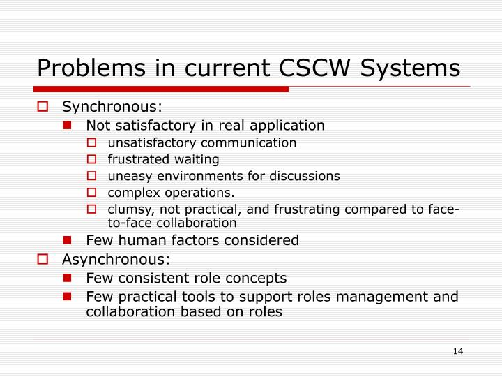 Problems in current CSCW Systems