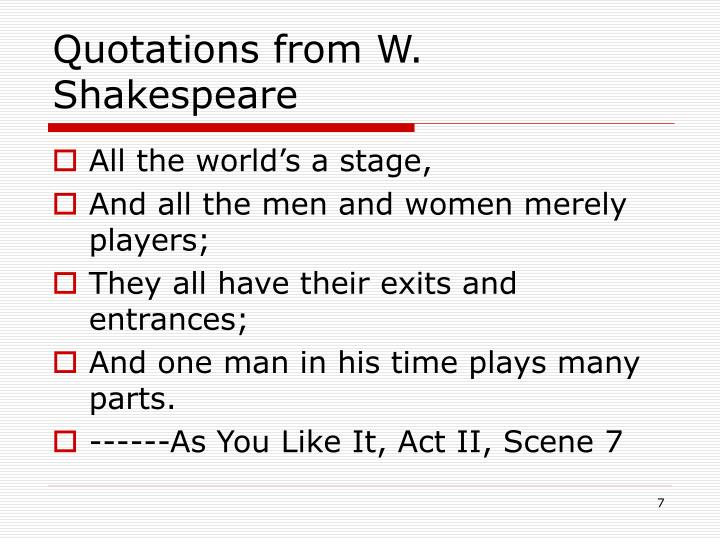 Quotations from W. Shakespeare