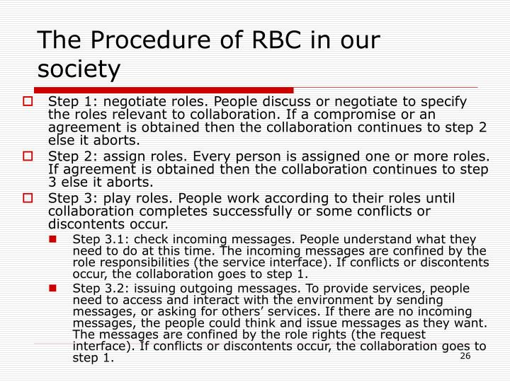 The Procedure of RBC in our society