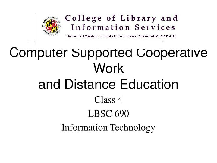 computer supported cooperative work and distance education n.