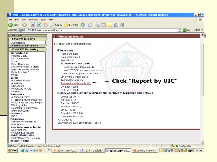 """Click """"Report by UIC"""""""