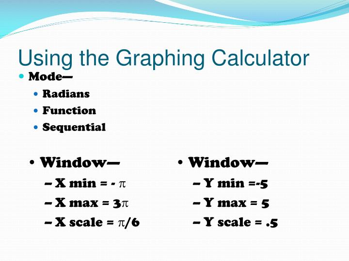 Using the graphing calculator