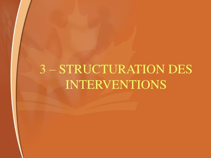 3 – STRUCTURATION DES INTERVENTIONS