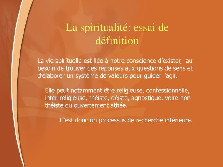 La spiritualité: essai de définition