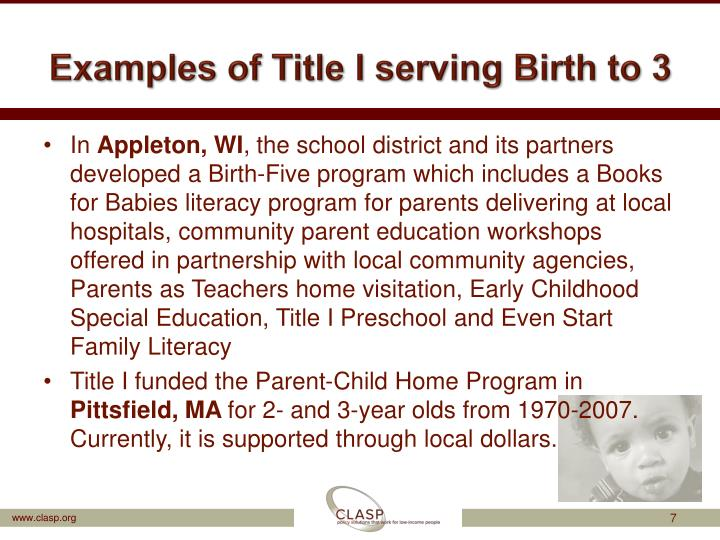 Examples of Title I serving Birth to 3