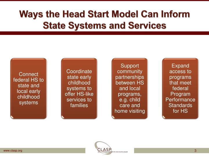 Ways the head start model can inform state systems and services