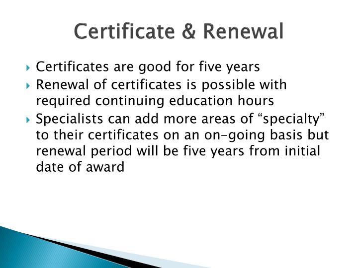 Certificate & Renewal