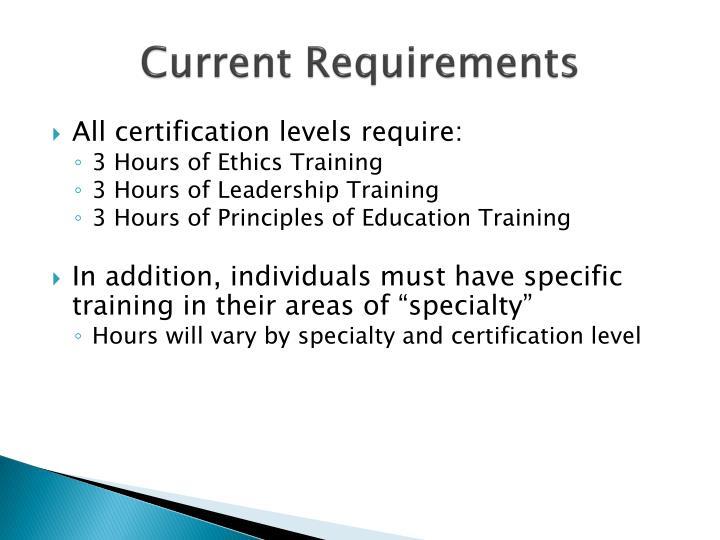 Current Requirements