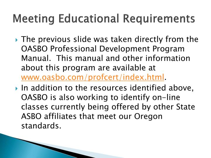 Meeting Educational Requirements