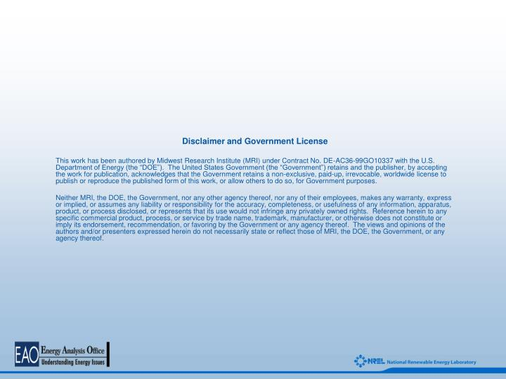 Disclaimer and Government License