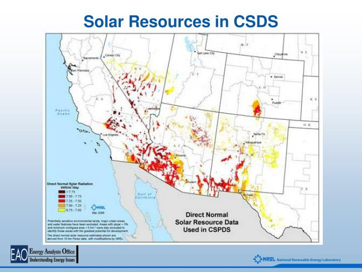 Solar Resources in CSDS