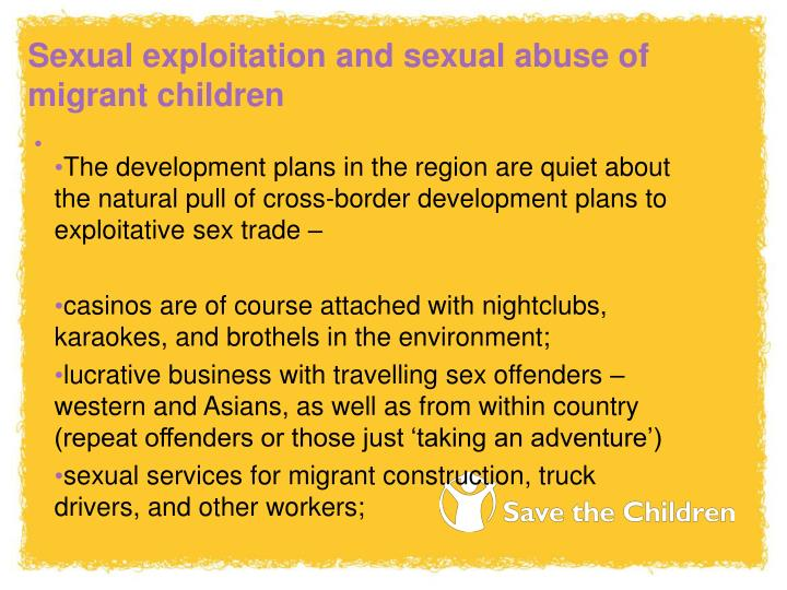 Sexual exploitation and sexual abuse of migrant children