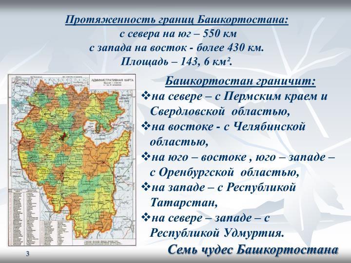 Протяженность границ Башкортостана: