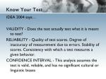 know your test