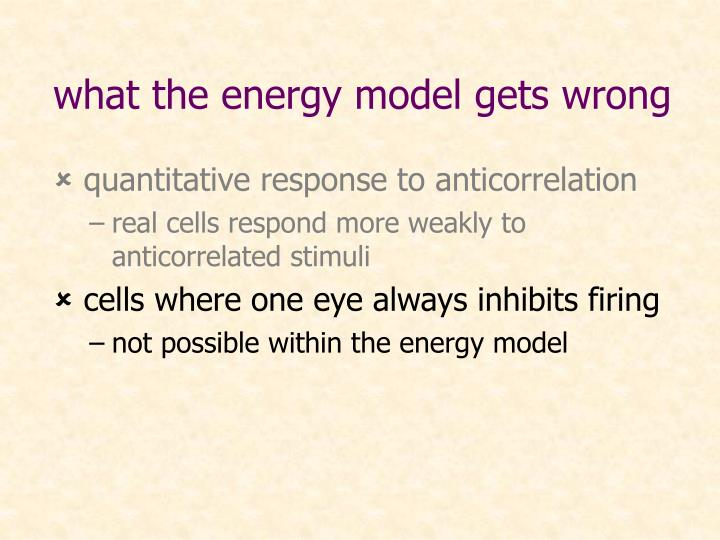 what the energy model gets wrong