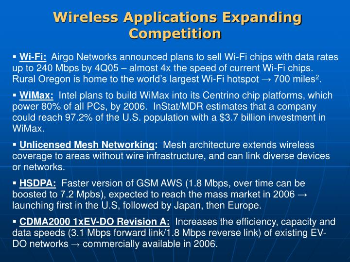 Wireless Applications Expanding Competition