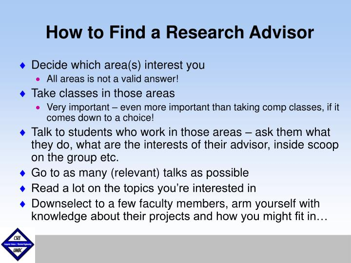 How to Find a Research Advisor