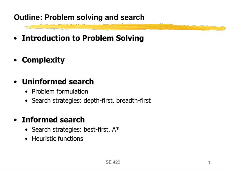 outline problem solving and search n.