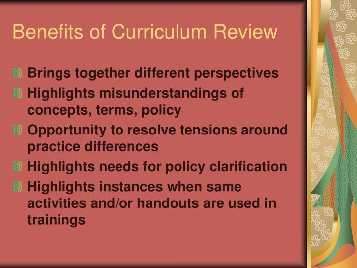 Benefits of Curriculum Review