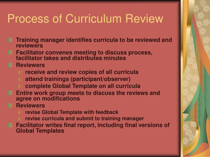 Process of Curriculum Review