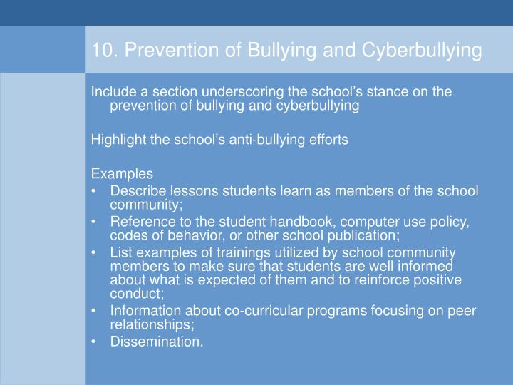 10. Prevention of Bullying and Cyberbullying