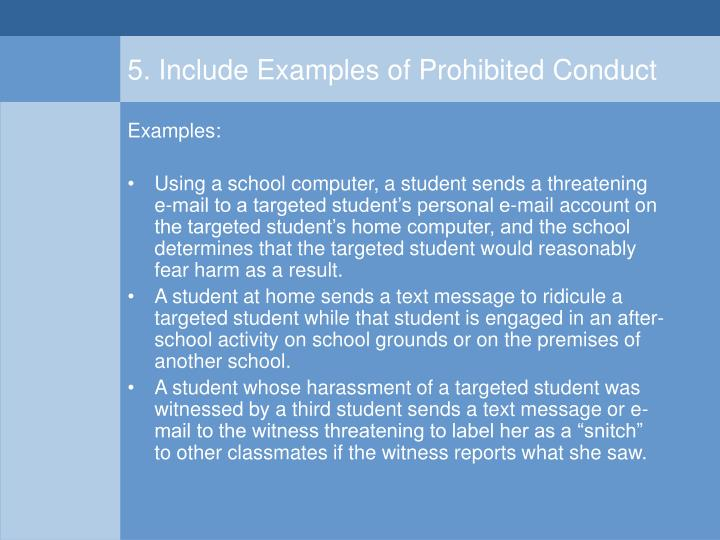 5. Include Examples of Prohibited Conduct
