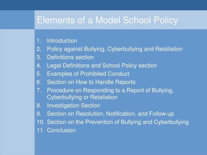 Elements of a Model School Policy