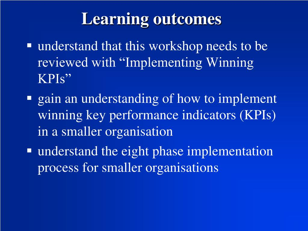 learn and implement kpis for it
