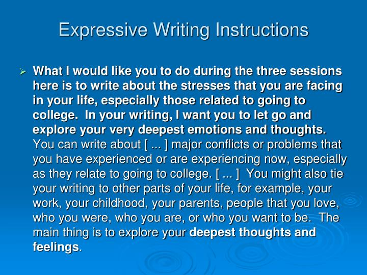 Expressive Writing Instructions