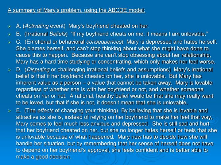 A summary of Mary's problem, using the ABCDE model: