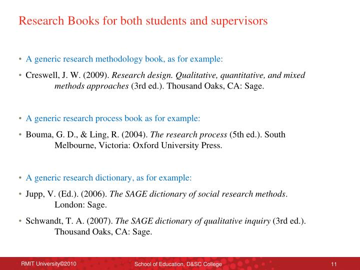 Research Books for both students and supervisors