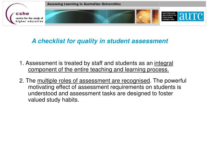 A checklist for quality in student assessment