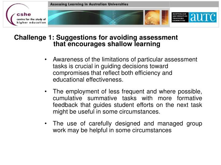 Challenge 1: Suggestions for avoiding assessment that encourages shallow learning