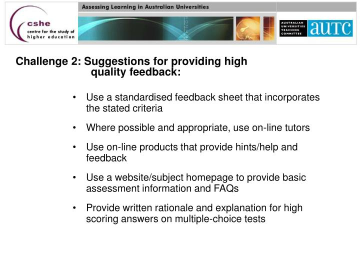 Challenge 2: Suggestions for providing high quality feedback: