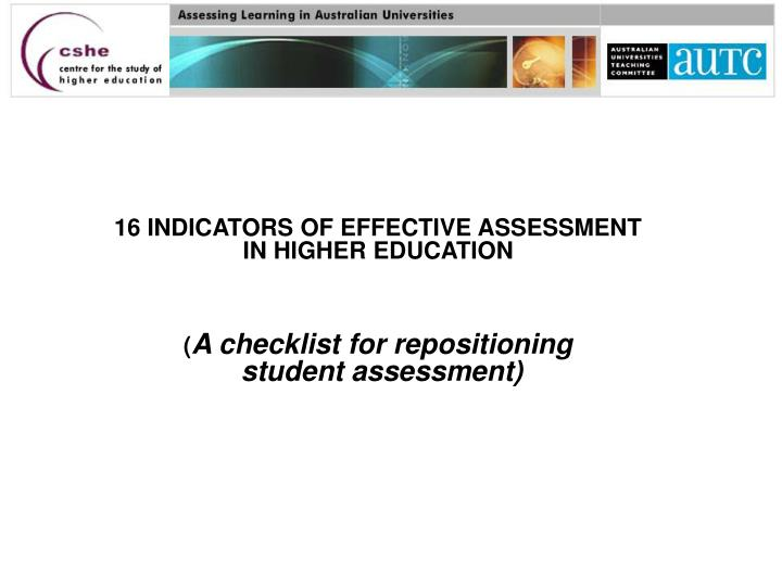 16 INDICATORS OF EFFECTIVE ASSESSMENT
