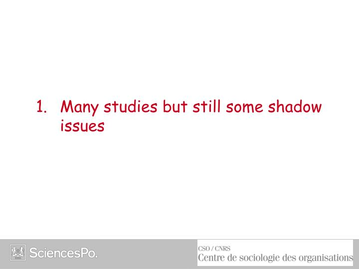 1 many studies but still some shadow issues