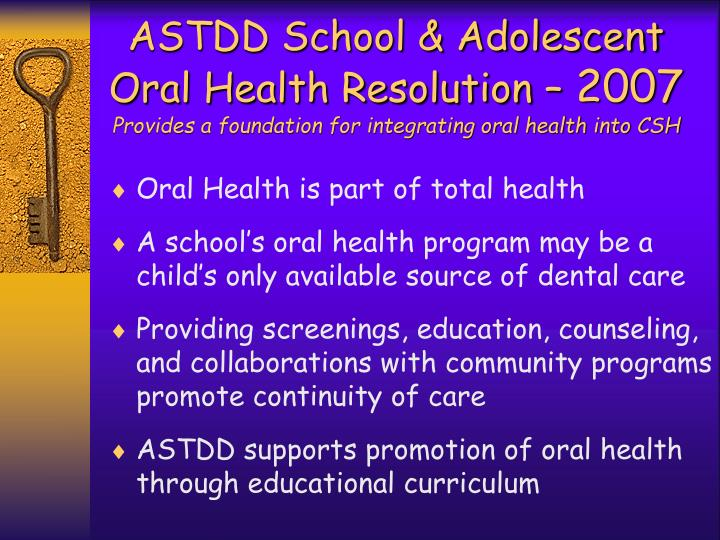 ASTDD School & Adolescent Oral Health Resolution –