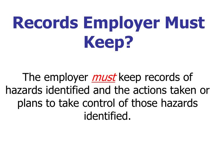 Records Employer Must Keep?
