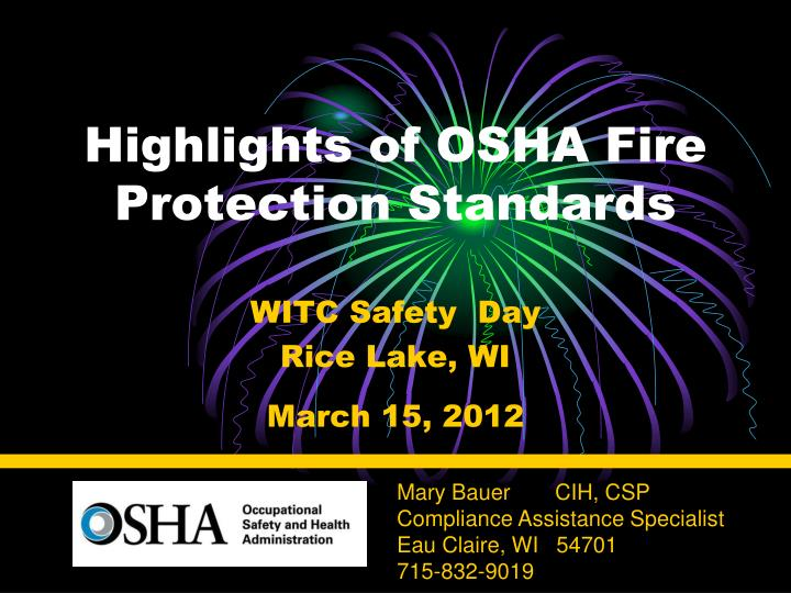 highlights of osha fire protection standards n.