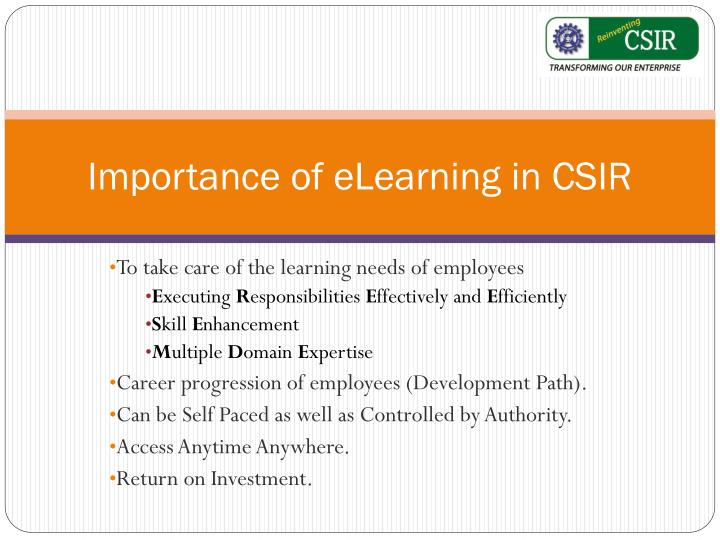 Importance of eLearning in CSIR
