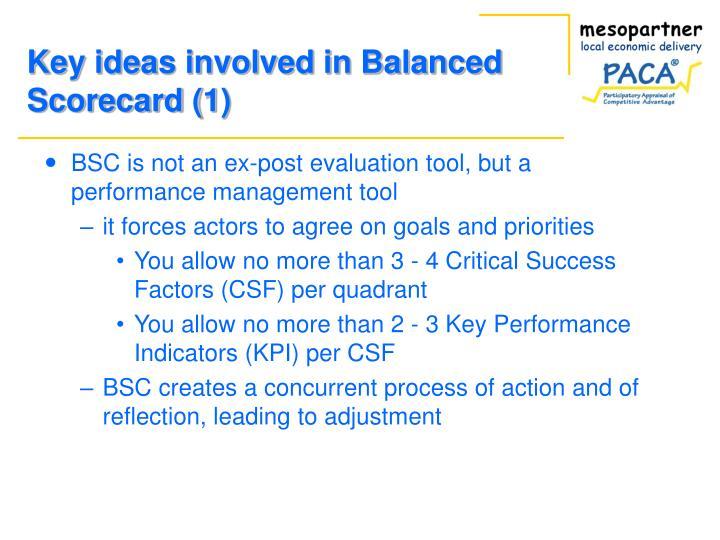 Key ideas involved in balanced scorecard 1