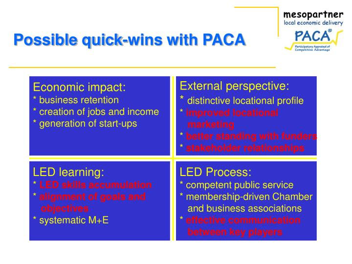 Possible quick-wins with PACA