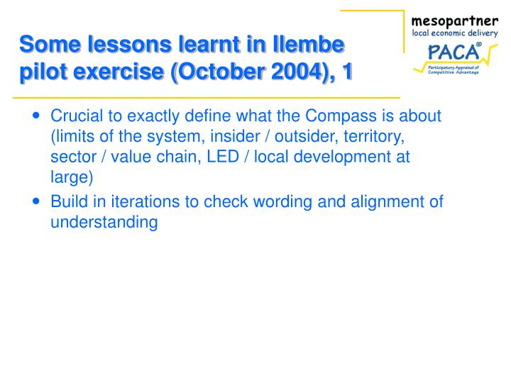 Some lessons learnt in Ilembe pilot exercise (October 2004), 1