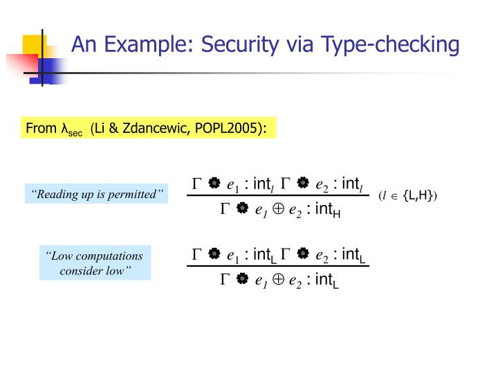 An Example: Security via Type-checking