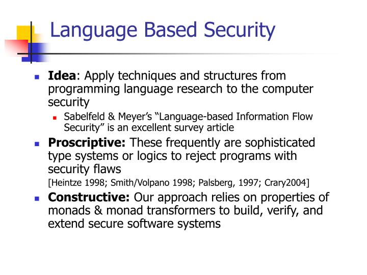 Language Based Security